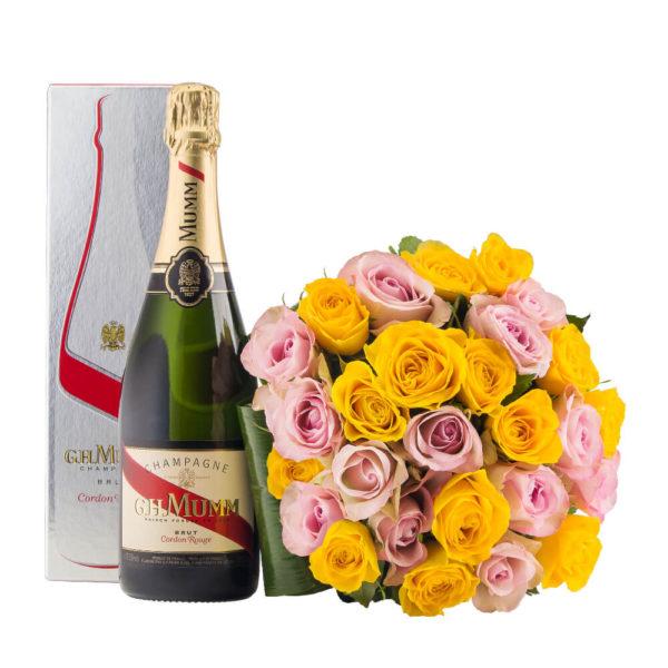 kollaseroosakirju roosikimp šampanjaga